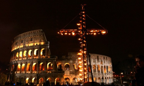 Cardinal Camillo Ruini presides the Holy Friday's Via Crucis at Rome's Colosseum, replacing Pope John Paul II who briefly apperead on a video screen. The 84 years old Pontiff followed The Station of the Cross ceremony in his private chapel on TV.
