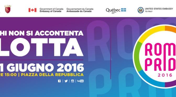 11 giugno 2016 il Roma Pride da piazza della Repubblica ai Fori
