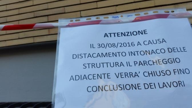 Dal 30/08/16 iniziano i lavori all'ASL RMA a via Luzzatti. Ma chi ha scritto il cartello?