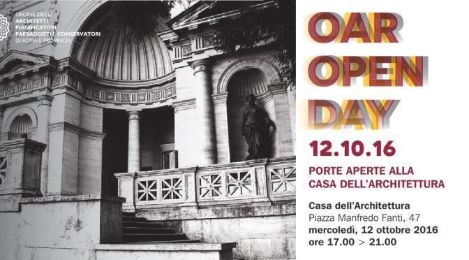 """12 ottobre 2016 """"OAR Open Day"""" porte aperte alla Casa dell'Architettura"""