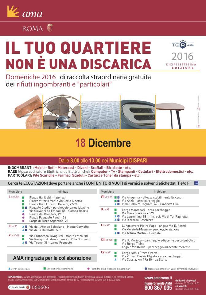 18 dicembre 2016 raccolta rifiuti ingombranti a Piazza Vittorio