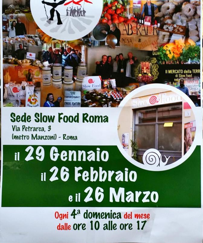 """Domenica 29 gennaio 2017 """"Incontra il produttore"""" presso la sede """"Slow Food Roma"""""""