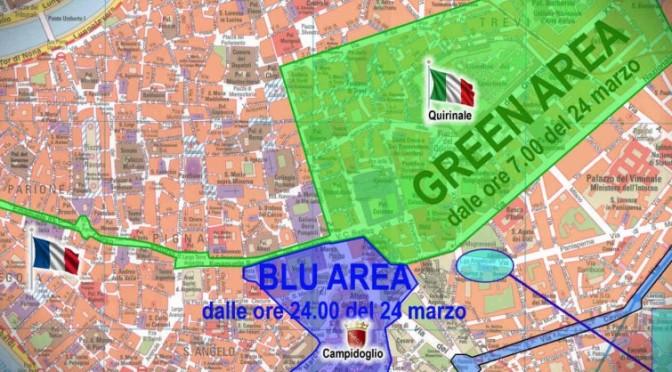 Trattati di Roma, la viabilità tra il 24 e 25 marzo