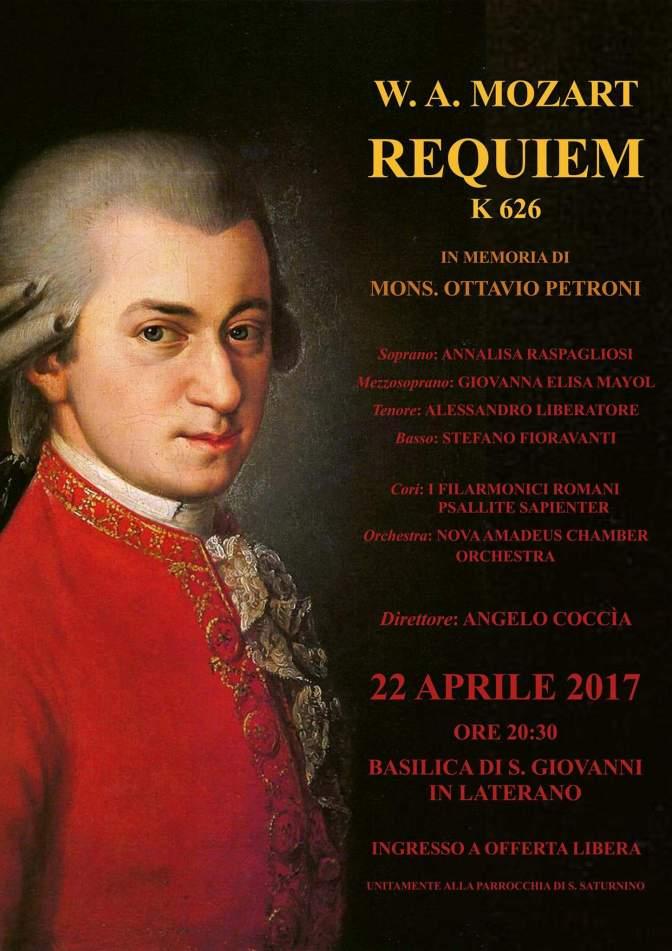 """22 aprile 2017 """"W.A. Mozart – Requiem K626"""" presso la Basilica di S. Giovanni in Laterano"""