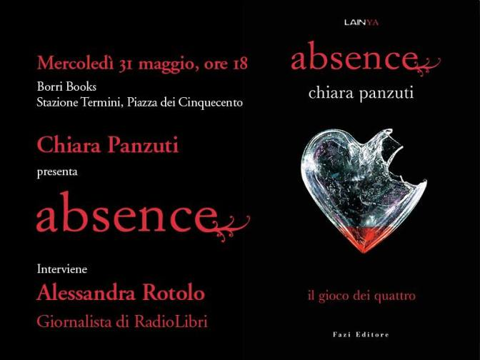"""31 maggio 2017: Presentazione del libro """"Absence"""" presso la Libreria Borri Books"""