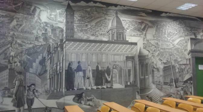 Il Murale dell'Aula Magna dell'Ex Caserma Sani