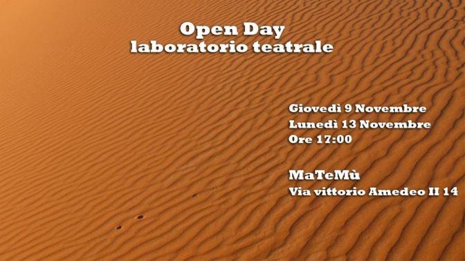 """13 novembre 2017 """"Open Day – Laboratorio Teatrale"""" presso MaTeMù"""