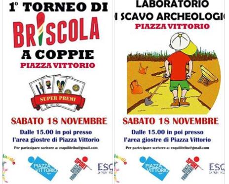 """18 novembre 2017 """"1° torneo di Briscola"""" e """"Laboratorio di scavo archeologico"""" a Piazza Vittorio"""