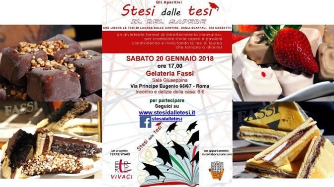 """20 gennaio 2018 """"Stesi dalle tesi"""" al Palazzo del Freddo – Gelateria Fassi"""