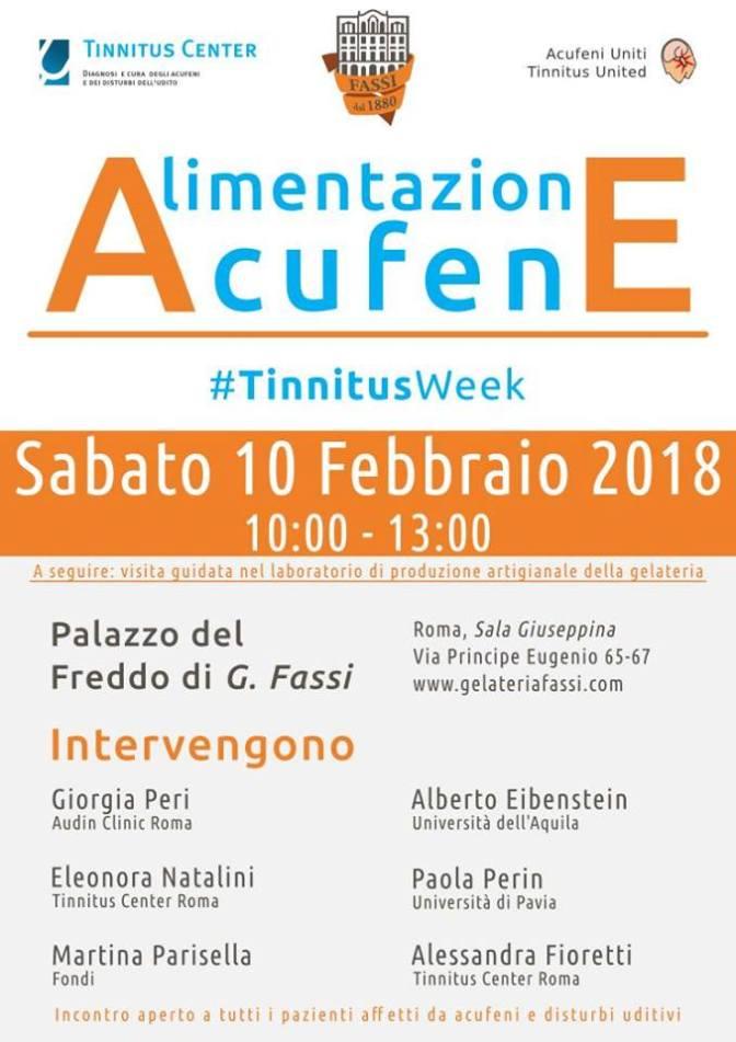 """10 febbraio 2018 Open day """"Acufene e Alimentazione"""" al Palazzo del Freddo"""