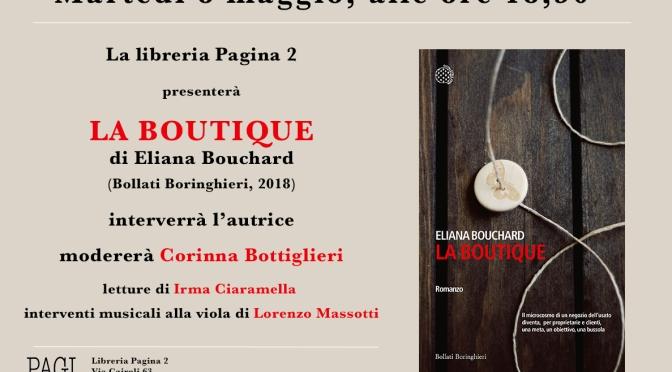 """8 maggio 2018 Presentazione del libro """"La boutique"""" presso la libreria Pagina 2"""