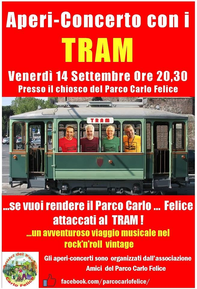 """14 settembre 2018 aperi-concerto con i """"TRAM"""" al Parco di via Carlo Felice"""