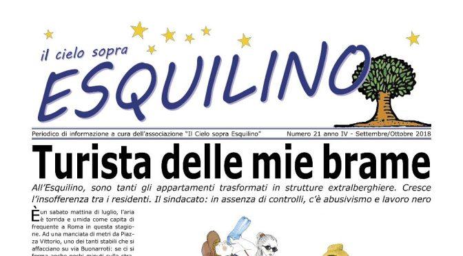 """E' uscito """"Il Cielo sopra Esquilino"""" numero 21 Settembre/Ottobre 2018"""