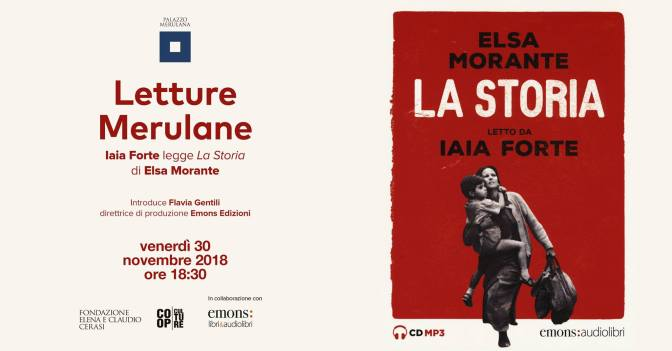 "30 novembre 2018 per Letture Merulane Iaia Forte legge ""La Storia"" di Elsa Morante al Palazzo Merulana"