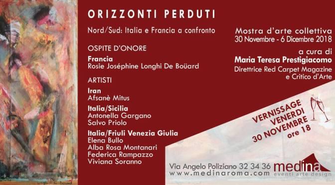 """30 novembre – 6 dicembre 2018 """"Orizzonti Perduti"""" mostra d'arte collettiva allo Studio Medina"""