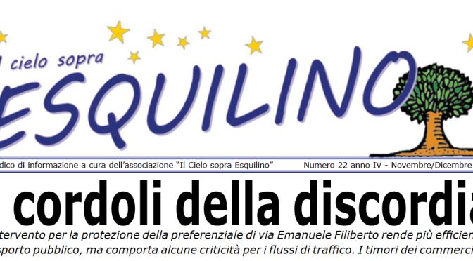 """E' uscito """"Il Cielo sopra Esquilino"""" numero 22 Novembre/Dicembre 2018"""