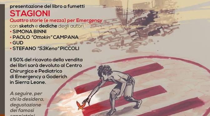 """11 gennaio 2019 – Presentazione del libro """"Stagioni: quattro storie (e mezza) per Emergency"""" al Palazzo del Freddo – Fassi"""