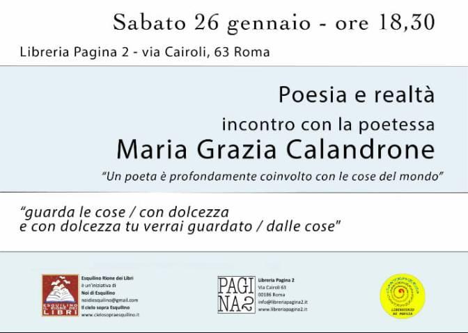 26 gennaio 2019 Incontro con la poetessa Maria Grazia Calandrone presso la Libreria Pagina 2