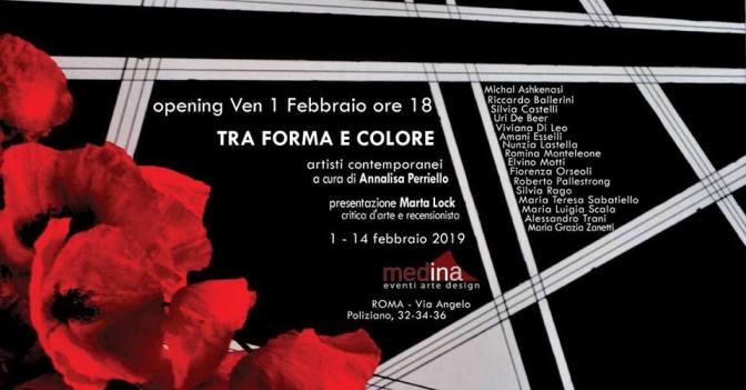 """1 – 14 febbraio 2019 Mostra d'arte collettiva """"Tra Forma e Colore"""" allo Studio Medina"""