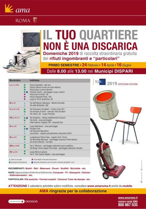 Calendario Raccolte Domenicali Ama.16 Giugno 2019 Raccolta Straordinaria Gratuita Dei Rifiuti