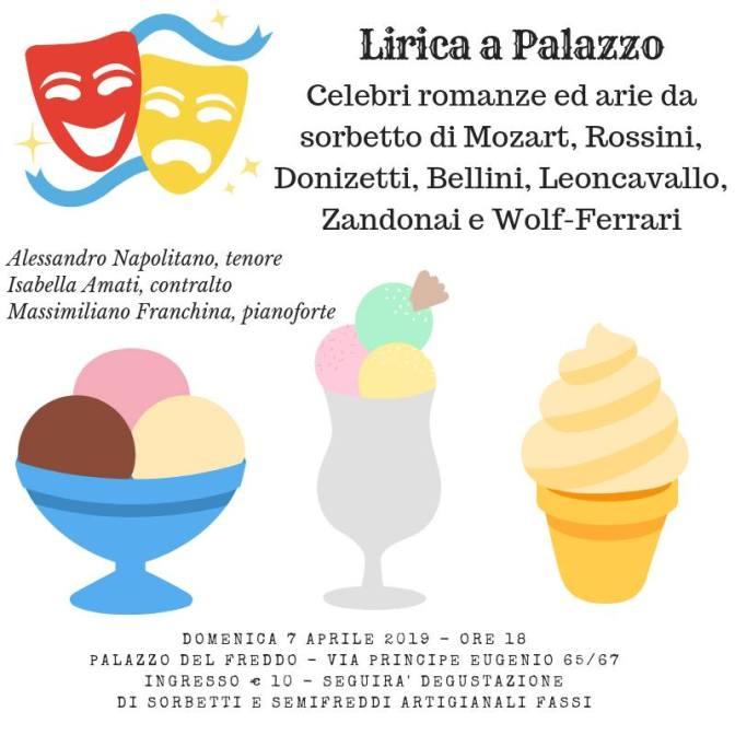 """7 aprile 2019 """"Lirica a Palazzo – Arie da Sorbetto"""" al Palazzo del Freddo – Fassi"""