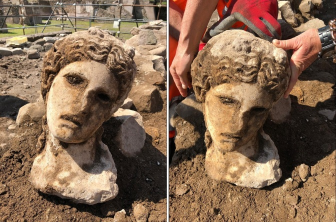 Testa di Dioniso scoperta a Roma