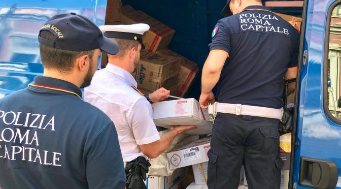 19 giugno 2019: Esquilino, 170 kg di pesce e carne sequestrati dalla Polizia Locale di Roma Capitale