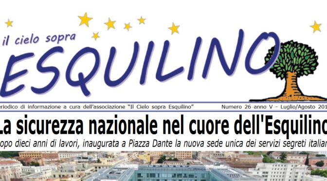 """E' uscito """"Il Cielo sopra Esquilino"""" numero 26 – luglio/agosto 2019"""