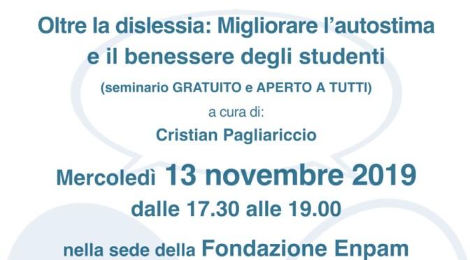 """13 novembre 2019 """"Oltre la dislessia: Migliorare l'autostima e il benessere degli studenti"""" nella sede della Fondazione Enpam"""
