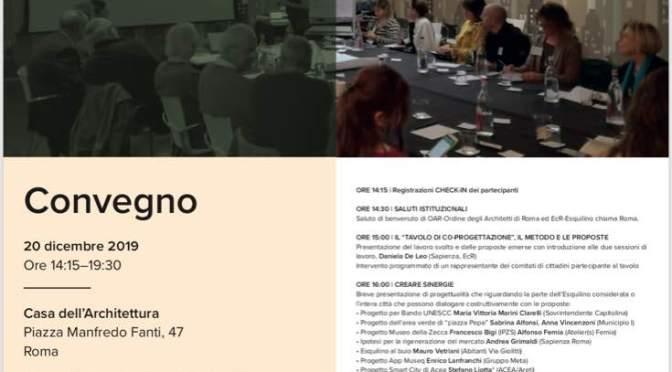 """20 dicembre 2019 Convegno """"Progetti e proposte per la rigenerazione dell'Esquilino tra Piazza Vittorio e via Giolitti"""" all'Acquario Romano"""