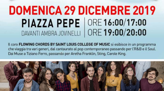 "29 dicembre 2019 ""Canto di Natale 2019"" Esibizione del coro ""Flowing Chords by Saint Louis College of Music"" a Piazza Pepe"