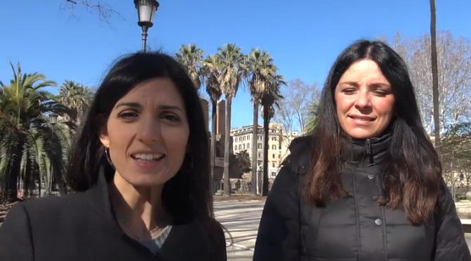 Sopralluogo della Sindaca Virginia Raggi al cantiere del giardino di Piazza Vittorio