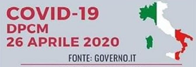 Il DCPM del 26 aprile 2020 con le ultime disposizioni.