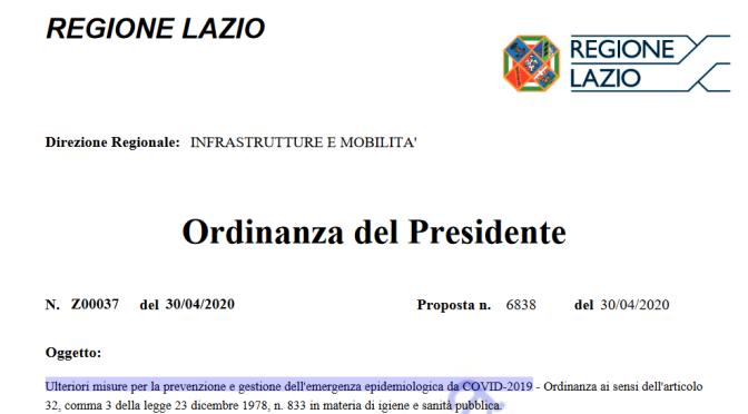 L'ordinanza del 30 aprile 2020 del Presidente della Regione Lazio