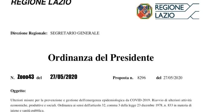L'Ordinanza del Presidente della Regione Lazio del 27 maggio 2020 con le schede tecniche relative ai vari settori delle attività