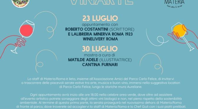 """23 e 30 luglio 2020 """"Vinarte"""" al Parco di via Carlo Felice"""