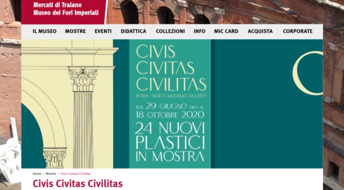 ROMA ARCHEOLOGICA & RESTAURO ARCHITETTURA 2020. Civis Civitas Civilitas – Roma antica modello di città. Museo dei Fori Imperiali (07/2020 – 10/2020). S.v., Italo Gismondi & Pierino Di Carlo – IL GRANDE PLASTICO DI ROMA ANTICA (1937). S.v., Carlo Pavia (08/11/2019) & (26/11/2018); Andrea Felice (26/08/2018); IL MESSAGGERO (23|01|2015); Alvaro de Alvariis (2012); Dr. Anna M. Liberati (2003); James E. Packer (2008 & 1979); Giornale Luce B1131 / Istituto Luce Cinecittà (21/07/1937) & Pierino Di Carlo (1935).