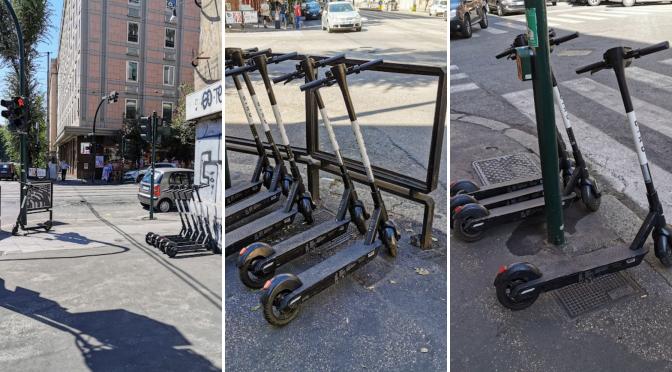 Adesso pure i parcheggi dei monopattini sui marciapiedi: ma sono leciti?