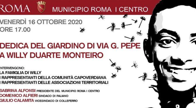 16 ottobre 2020 Intitolazione del giardino  di via Guglielmo Pepe A Willy Monteiro Duarte