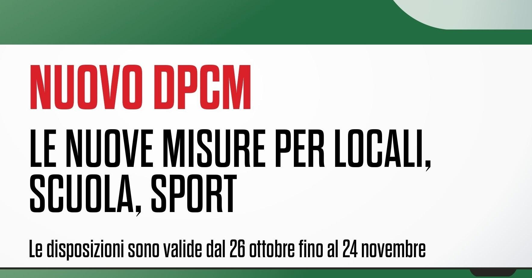 Il DPCM del 24 ottobre 2020 con la relativa infografica e gli allegati