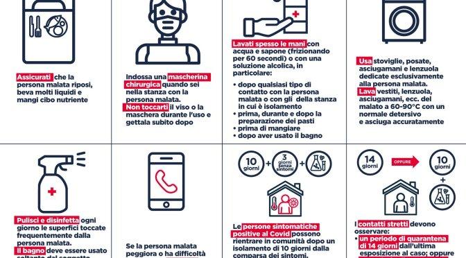 Infografiche con le regole  in caso di contatto stretto con un positivo  di covid-19 e le raccomandazioni per  persone in isolamento domiciliare