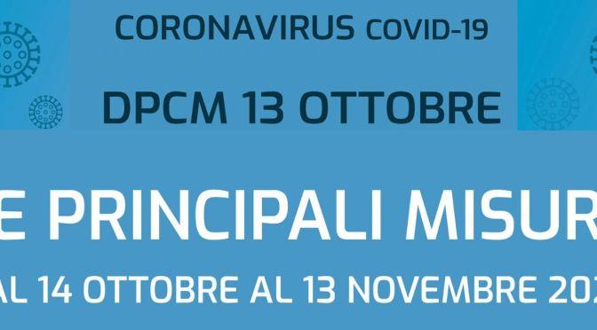IL nuovo DCPM del 13 ottobre 2020