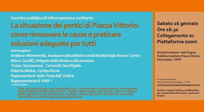 """16 gennaio 2021:                                                           """"La situazione dei Portici di Piazza Vittorio"""" Incontro pubblico di informazione e confronto online"""
