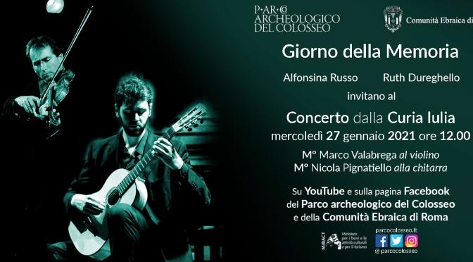 27 gennaio 2021 Giorno della Memoria. Concerto online dalla Curia Iulia
