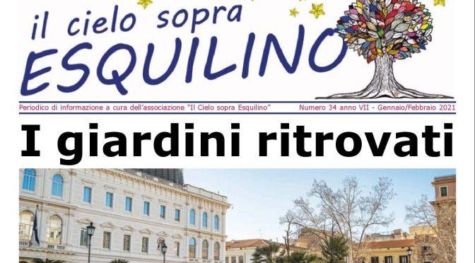 """E' uscito """"Il Cielo sopra Esquilino"""" numero 34 – Gennaio/Febbraio 2021"""