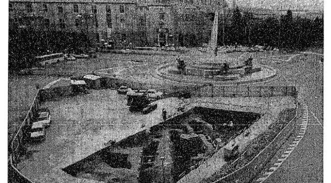"""ROMA ARCHEOLOGICA & RESTAURO ARCHITETTURA 2021. """"Prof. G. Carettoni illustra i resti archeologici rinvenuti in piazza Esedra durante i lavori di scavo per la metropolitana."""" ARCHIVO LUCE / Video (1969). S.v., E. Lissi Caronna, """"Piazza dell'Esedra. Saggio di scavo per la costruzione della stazione,"""" NSc (Scavo 1969 [1976]), in: BCom 89.2 (1984): 379-380 & ROME – Metro B –The Piazza della Repubblica. """"As Rome Digs a Subway, History Unfolds."""" NYT (23/01/1971): 2 [in PDF]."""