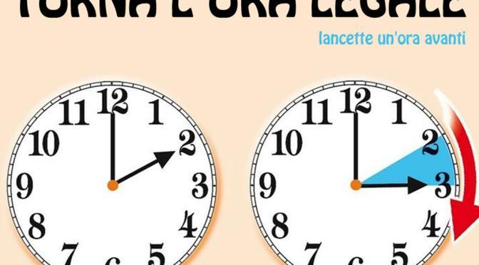 28 marzo 2021 torna l'ora legale