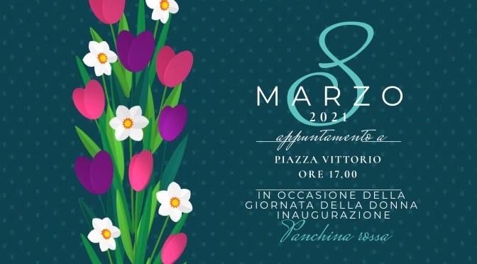 8 marzo 2021: Inaugurazione di una panchina rossa nei Giardini di Piazza Vittorio contro la violenza di genere.