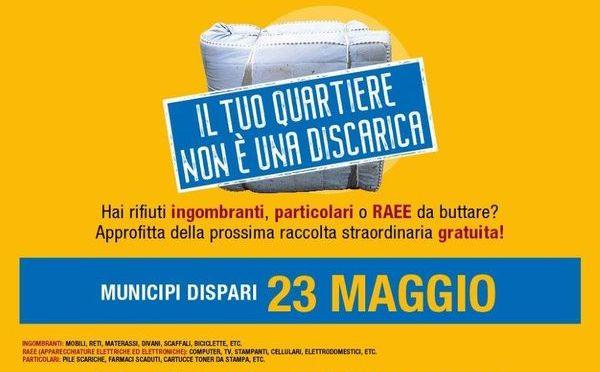 23 maggio 2021 Raccolta straordinaria gratuita dei rifiuti ingombranti nel I Municipio