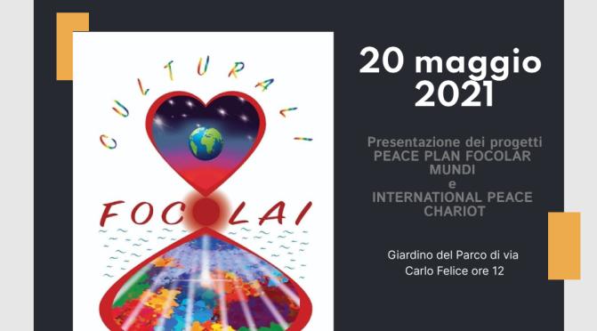 """20 maggio 2021 presentazione del Piano di Pace del progetto """"Focolar Mundi"""" nel giardino di viale Carlo Felice"""